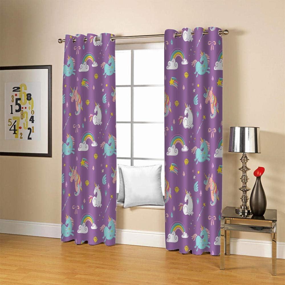 ZCLCHQ Kids Chicago Mall Curtains Purple 100% quality warranty! Unicorn Bedroom Living Window Room