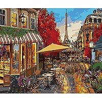 LovetheFamily パリの花 数字キットによる絵画 数字油絵 数字キット塗り絵 手塗り DIY絵 デジタル油絵 ホーム オフィス装飾 (40*50cm, フレーム付き)