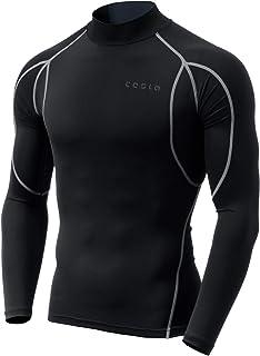 TSLA Men's Long Sleeve Mock Neck T-Shirt Baselayer Cool Dry Compression Top