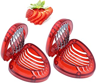 Ruibo Strawberry Slicer/Cutter with Stainless Steel Blades Easy Use Egg Cutter Kitchen Gadgets Tools Set 2 Pack