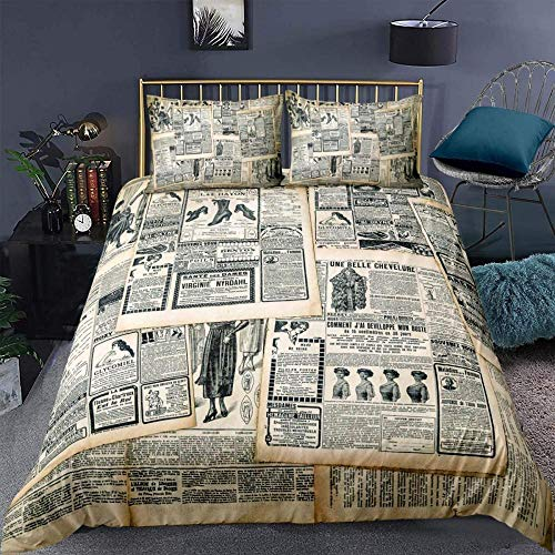XADITON 3D Duvet Cover Bedding Set Duvet Cover And Pillowcase 135 Cm x 200 Cm Retro sepia old newspaper pattern with Zipper Closure ,for Girls Ultra Soft Hypoallergenic Microfiber