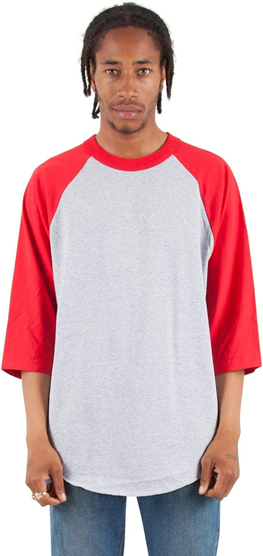 Shaka Wear Baseball Raglan Shirt – Men's Classic 3/4 Sleeve Casual Cotton Tee Top Sport Active Athletic Jersey Tshirt S-5XL