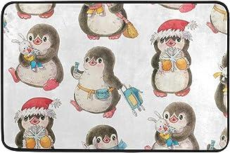 Mydaily Santa Penguins Christmas Doormat 15.7 x 23.6 inch, Living Room Bedroom Kitchen Bathroom Decorative Lightweight Foa...
