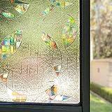 LMKJ 3D Transparent Round Window Film, Rainbow Effect Self-Adhesive Glass Sticker, electrostatic Window Paper A48 60x100cm