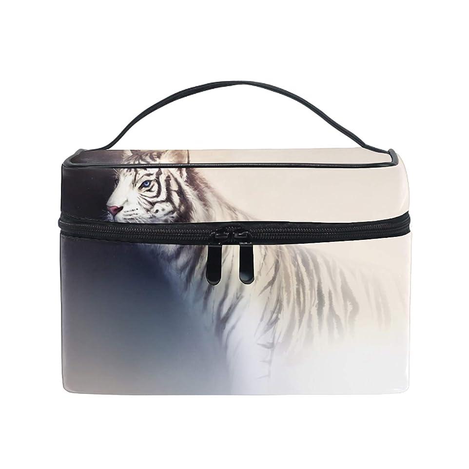 少年縫う弱点レディースWhite Tiger 小物入れケース 化粧ポーチ 小物用収納ポーチ 化粧品収納袋