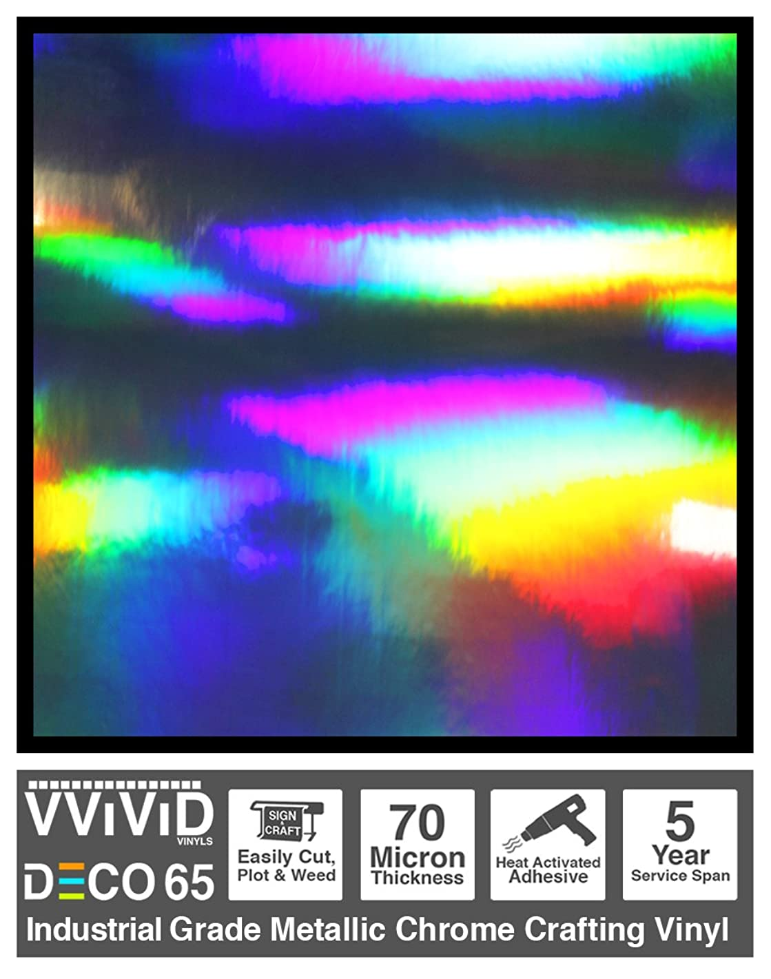 VViViD DECO65 Rainbow Lazer Metallic Chrome Adhesive Vinyl 6ft x 1ft Craft Roll for Die-Cutter and Plotting Machines