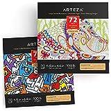 Arteza Libri da Colorare per Adulti, Immagini Fantasia e Animali da Colorare, 2 Pz, 144 Fo...