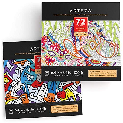 Arteza Libro de colorear para adultos, diseños de animales y dibujos para garabatear, libreta de 16,3 x 16,3 cm, 72 hojas de 150 g/m², ideal para la ansiedad, relájate coloreando, hojas extraíbles