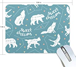 ATONO Star Animals Wolf and Beer Mouse Pad Mat Dust-Proof Premium-Textured Non-Slip Rubber Base 9.84''X7.48'' for Computer PC Laptop Office & Travel Game