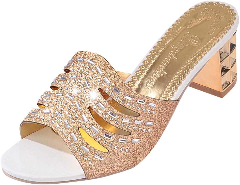 Fheaven Women Summer High Heels Wedge Dress Sandals Slipper Platform shoes Peep-Toe Wedges Slippers (5, gold)