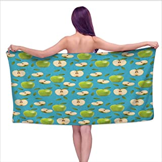 Bath Towel wrap for Women Apple,Fresh Granny Smith Apples Raw Fruit Ornamental Harvest Winter Season Produces, Apple Green Teal,W28 xL55 for Kids Mickey Mouse