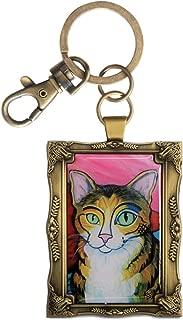 Pavilion- Golden Framed Brown Tabby Cat Key Chain