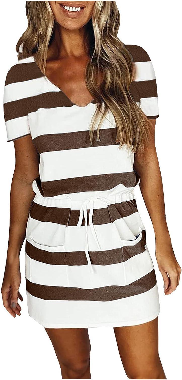 Zainafacai Summer Dresses for Women, Casual Short Sleeve V-Neck Tshirt Dress 2021 New Stripe Splicing Beach Dress Sundress