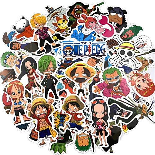 WH MaiYY 48 Piezas De One Piece Maleta Pegatinas Lu Fei Suolong Anime Computadora Pegatinas De Coche Decoración De La Pared Dormitorio Pegatinas Impermeable