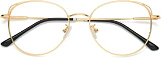 SOJOS Cat Eye Blue Light Blocking Glasses Hipster Metal Frame Women Eyeglasses She Young
