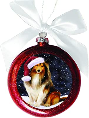 Let it Snow Christmas Holiday Rough Collie Dog Red Round Ball Christmas Ornament RBSOR48699