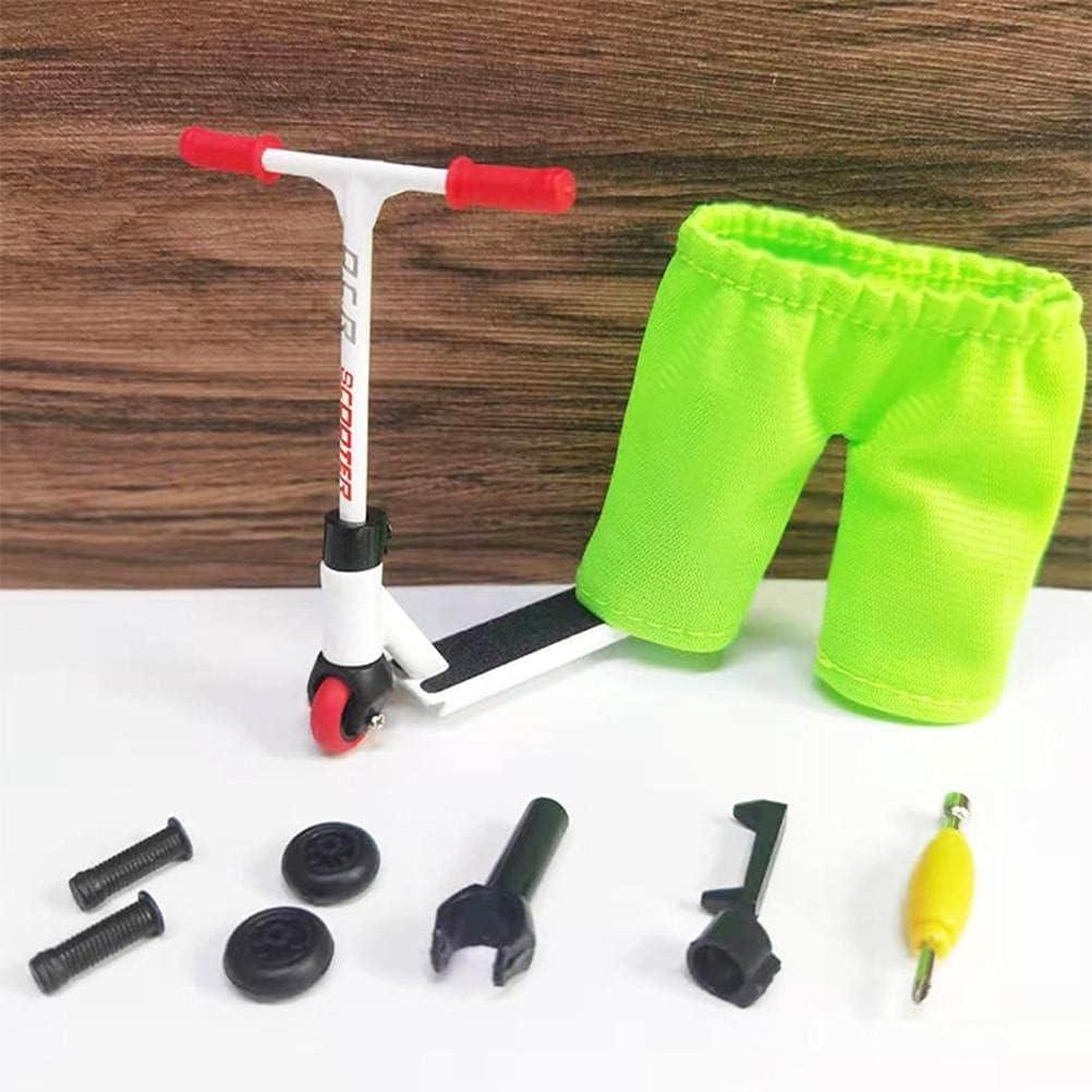 Tech Deck Finger Scooter Set, Skate Ramp Pro Diapasón con mini scooters herramientas y accesorios de la tabla del dedo, mini scooter interactivo dedo juguete novedad sensorial Skateboard Kit - Blanco