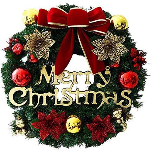 HIAQIMEI Ghirlanda di Natale Ghirlanda Ornamento con Lettera Buon Natale Ghirlanda di Natale Decorazione con Campane Palle Fiocco per La Parete della Porta di Casa