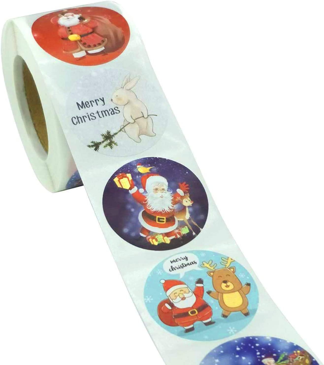 Gift for Kids Boys and Girls 1INCH-04 Wizdar 500PCS Christmas Holiday Stickers Roll for Christmas Party Supplies Thankgiving Decorations