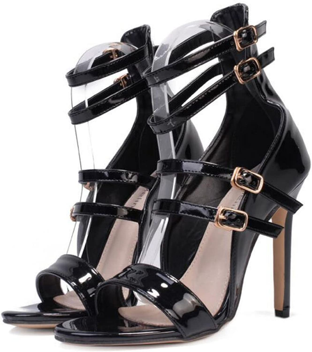 LZWSMGS PU Women's shoes Pu Spring and Summer High-Heeled Belt Buckle Sandals Comfortable Wild Black bluee 35-40cm Ladies Sandals (color   Black, Size   36)