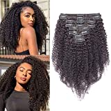 30cm - Extensiones de Clip Pelo Natural Rizado Negro 105g Kinky Curly Clip in Hair Extensions 8 Piezas 18 Clips Cabello Natural Afro Trenza