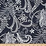 Trans-Pacific Textiles 0668504 Protea Paisley Swirl Indigo