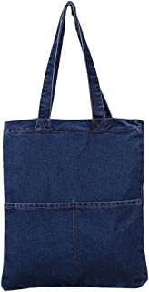 MyLifeUNIT Denim Shoulder Bag, Tote Bag Handbag with Double Pockets for Women