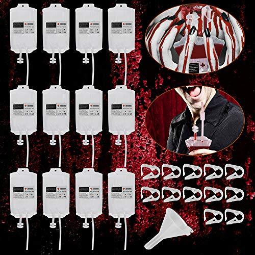 EMAGEREN 12 Stück Halloween Blutbeutel Trinkbeutel 300ml Halloween Infusionsbeutel IV Taschen Getränkebehälter Halloween Party Trinkgefäß mit 12 Spritze Clips, 12 Blutart Aufkleber, 1 Trichterf