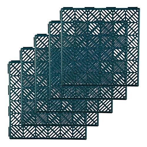 Winsome Garden Path Tiles Plastic Decking Interlocking Patio Paving Slabs - Waterproof, Anti Slip Outdoor Slab - Pack of 5 (Green)