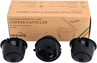 RECAPS Reusable Coffee Capsules Refillable Pods Compatible with Nescafe Dolce Gusto Brewers 3 Pack Black