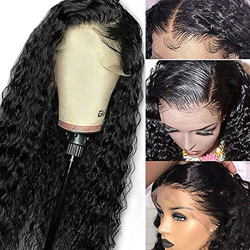Glueless Deep Wave Lace Front Wigs Human Hair 16 inch Pre Plucked Natural Hairline with Baby Hair for Women 130% Density Unprocessed Brazilian Virgin Remy Human Hair Wigs Deep Curly Lace Front Wig