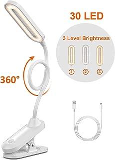 DERCLIVE Lampada da Scrivania a Tubo Flessibile Flessibile in Metallo con Clip di Lettura Usb a Led per Lettura di Libri a Letto O Trucco Ecc