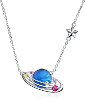 Planet Necklace Sterling Silver Galaxy Star Pendant Solar System Necklace Universe Space Jewelry Gifts for Women Birthday, AAA Cubic Zirconia
