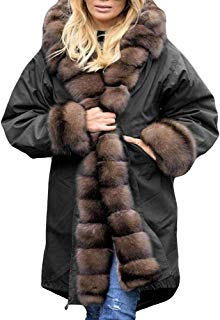 Hunzed Women【Thicken Winter Overcoat Outwear】Women Faux Fur Coat Hood Parka Long Jacket Outwear