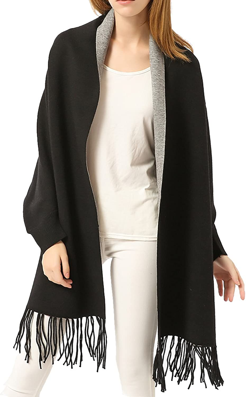 ZISUEX Women Embroidery Cloak Poncho Shawl Wrap Fashion Scarf Tassels Pashmina