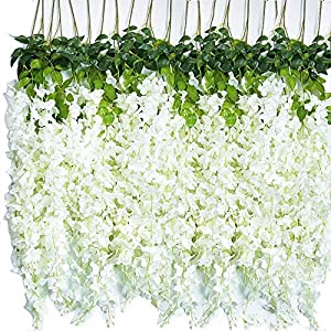 24 Pack (86.4 FT) Artificial Wisteria Vine Ratta Fake Wisteria Hanging Garland Silk Long Hanging Bush Flowers String Home Party Wedding Decor…