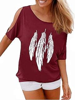 comprar comparacion YIPIN Mujer Casual Camiseta Manga Corta Sin Tirantes Verano Estampado de Plumas Suelto T-Shirt Tops