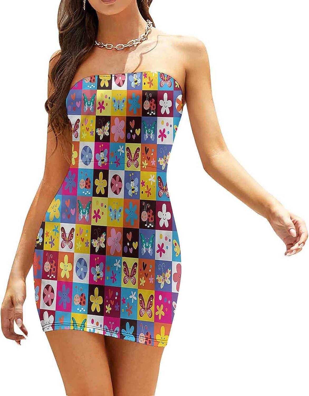 Women's Summer Strapless Dresses Autumn Leaves Line Art Dresses