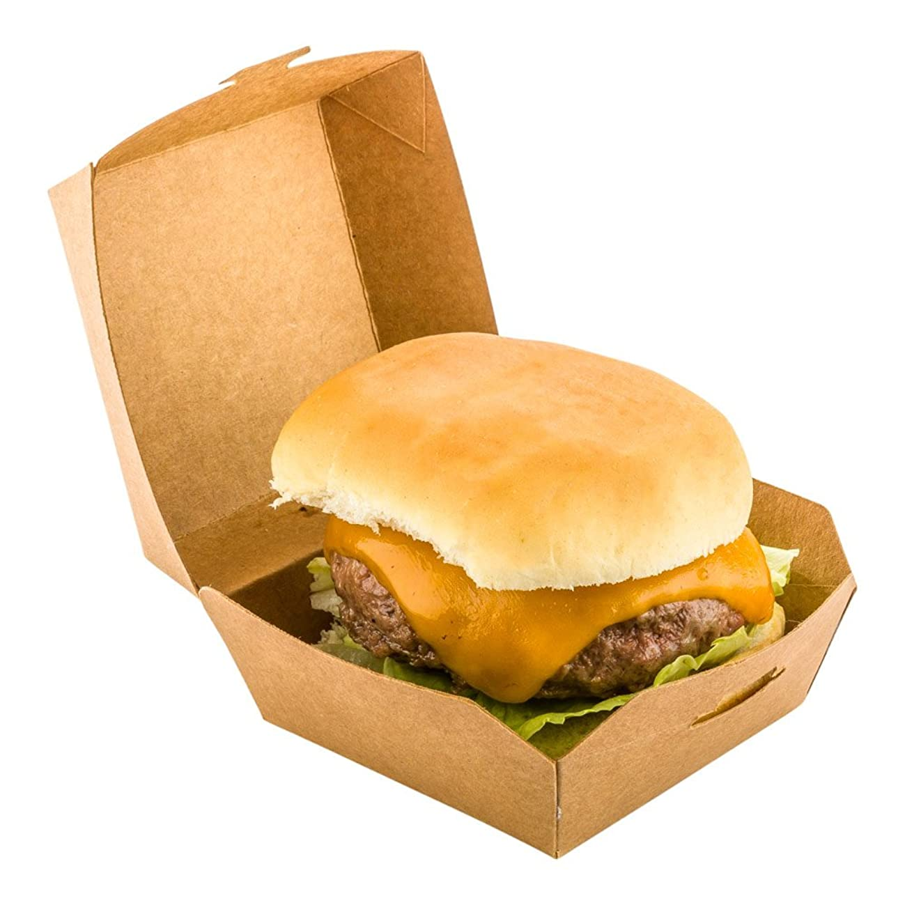 Mini Slider, Slider Burger, Mini Burger Box, Disposable Mini To Go Box - Kraft Brown - 2.75 Inch - 100ct Box - Restaurantware