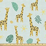 Ambesonne Giraffe Fabric by The Yard, Continuous Monstera Sun Symbol Giraffes Dotted Animal Cartoon Print, Decorative Fabric for Upholstery and Home Accents, 1 Yard, Mint Green