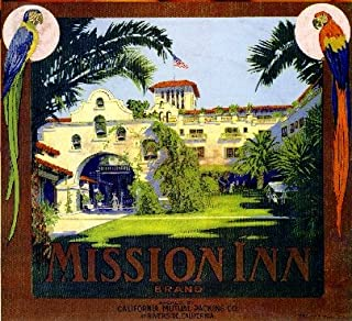 A SLICE IN TIME Riverside California Mission INN Brand Orange Citrus Fruit Crate Label Art Print Travel Advertisement Poster