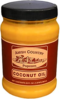 Amish Country Popcorn | 30 Ounce Coconut Oil | Vegan, Tree Nut and Peanut Free (30oz Jar)