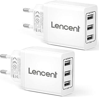LENCENT Caricatore USB da Muro a 3 Porte(17W/3.4A)[2 Pezzi], Caricabatterie Presa USB con Tecnologia di Auto-ID, Adattator...