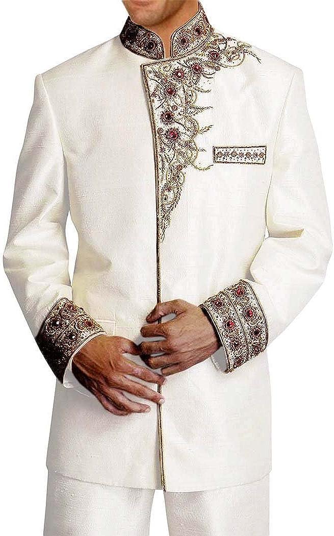 INMONARCH Mens Cream 2 Pc Jodhpuri Suit Designer Embroidered JO0123