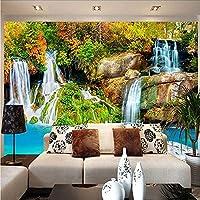 Djskhf 自然風景カスタム3D壁壁画壁紙小さな小川の滝のリビングルームのテレビの背景写真の壁紙寝室の壁 280X200Cm
