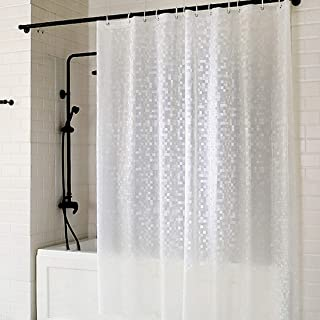 Eforcurtain Extra Long Size 72 by 75 Inch Vinyl Shower Curtain Liner with Hooks Water Resistant Mosaic PVC Bathroom Curtains for Bathtub