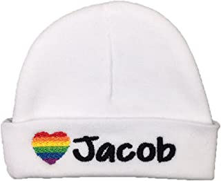 eb2dc77174bf9 Ava s Miracles Personalized Baby Hat with Embroidered Rainbow Heart for  Rainbow Baby