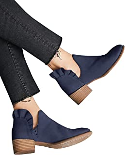 Womens Ruffle Ankle Boots V Cut Out Pointed Toe Booties Chunky Low Heel Slip on Western Shoes