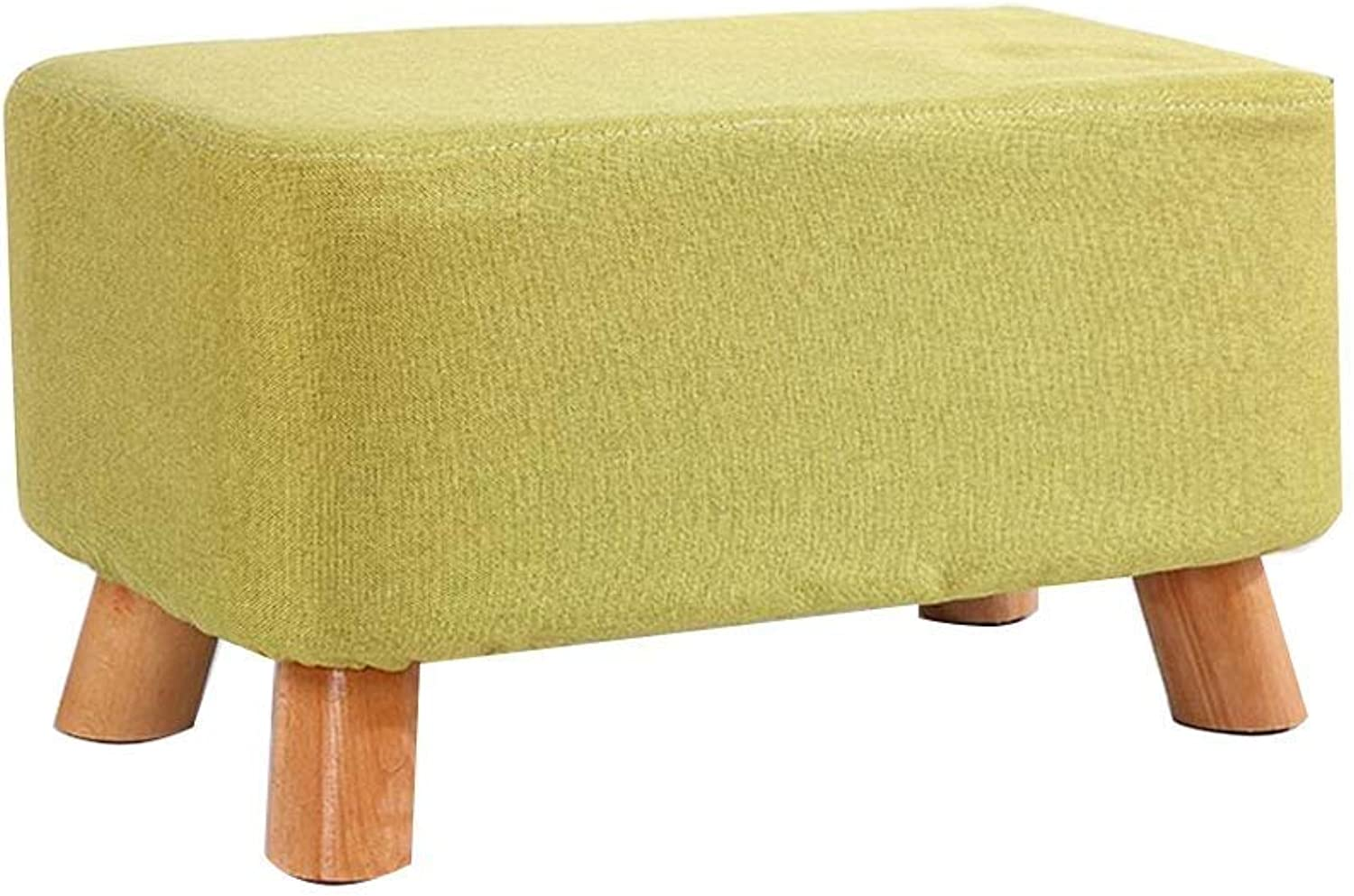 Change shoes Bench Small Stool Cloth Solid Wood Living Room Sofa Stool Multiple Sizes GMING (color   Green 50cm)