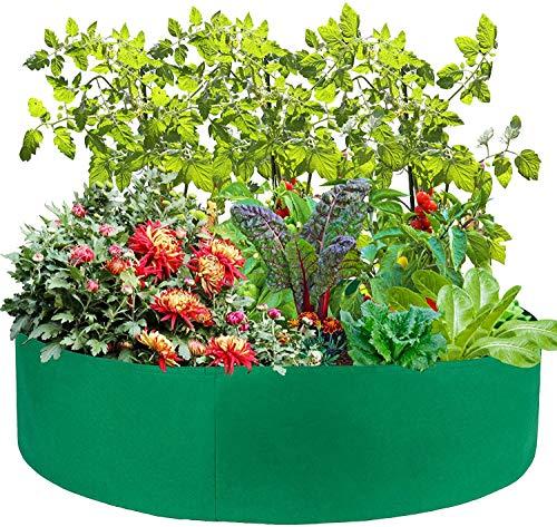 HJXY Cama de plantación elevada para jardín Caja de Tela Redonda Contenedor Transpirable para Plantar Hierbas, Flores, Verduras, Patatas en Interiores y Exteriores (10 Gallon,Verde)